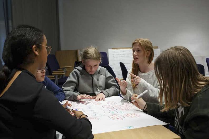 Schüler bereiten eine Klassenfahrt nach